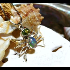 Sterling Silver Opal and Peridot 3D Spider Pendant